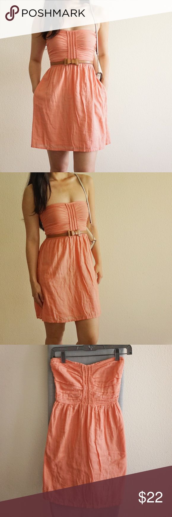 ZARA salmon pink strapless summer dress A refreshing cotton dress for hot summer days by Zara. Handy pockets on the side. True to size. Great condition. Zara Dresses Strapless