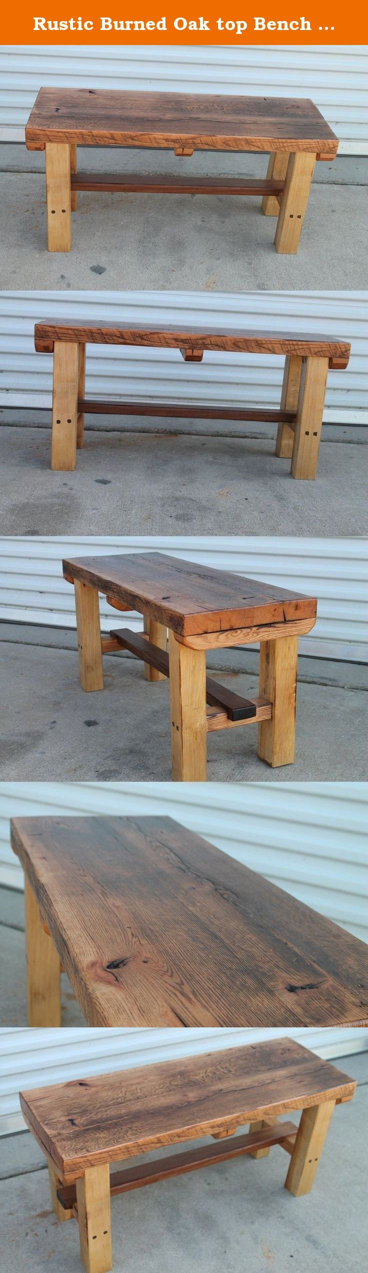 Rustic Burned Oak top Bench with Walnut Crossbar. Here's a rustic bench made for an entryway or even to sit at the base of a bed. This has a reclaimed oak top that was burned and distressed. The bottom has a walnut crossbar and walnut square pegs. Nothing fancy, just great functional and rustic!.