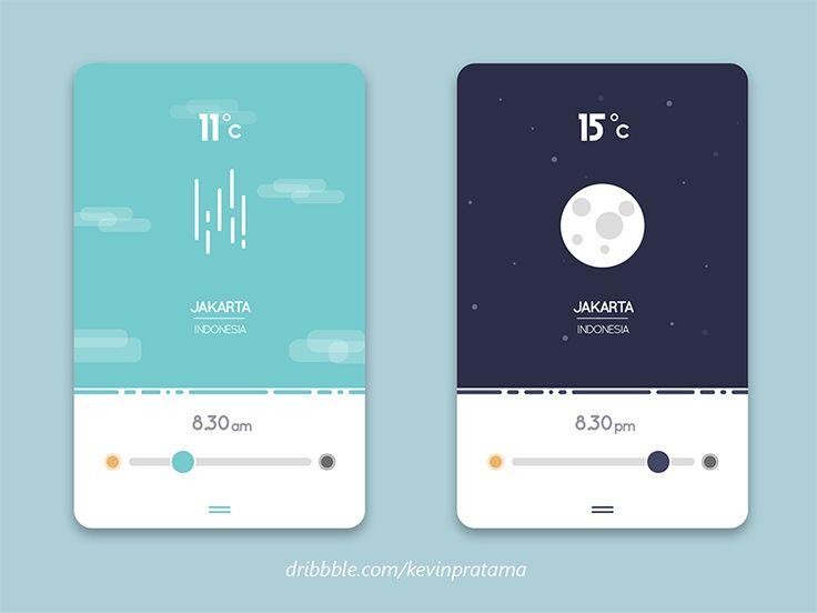 Flat Weather UI Design by Kevin Pratama