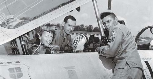 The woman in the cockpit is Evelyn Bryan Johnson, who spent 6 1/2 years of her life in the air. Mrs. Johnson holds the world record for the most air-hours logged by a woman: 57,635. (She's second all time, behind Ed Long.) During her 60 years as a pilot she traveled over 5.5 million miles. Mrs. Johnson passed away at the age of 102. (Image is via the USAF and courtesy of themarysue.com) http://dailyob.it/L20CQW