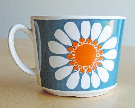 Vintage Figgjo Flint Cup in the Daisy Pattern by DishingItUp, $12.00