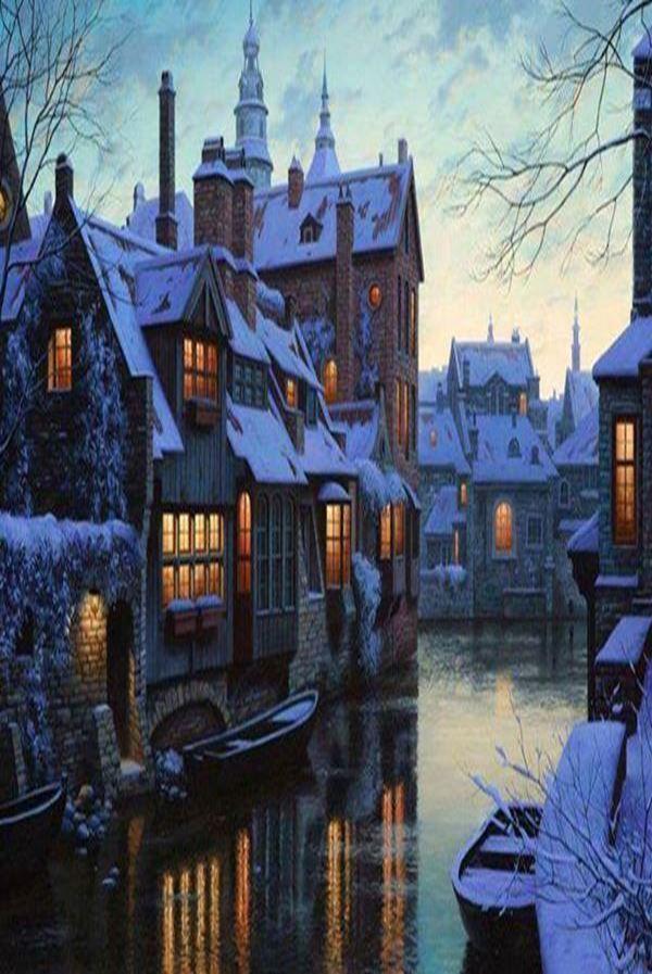 Snowy night in Bruges ~ Belgium
