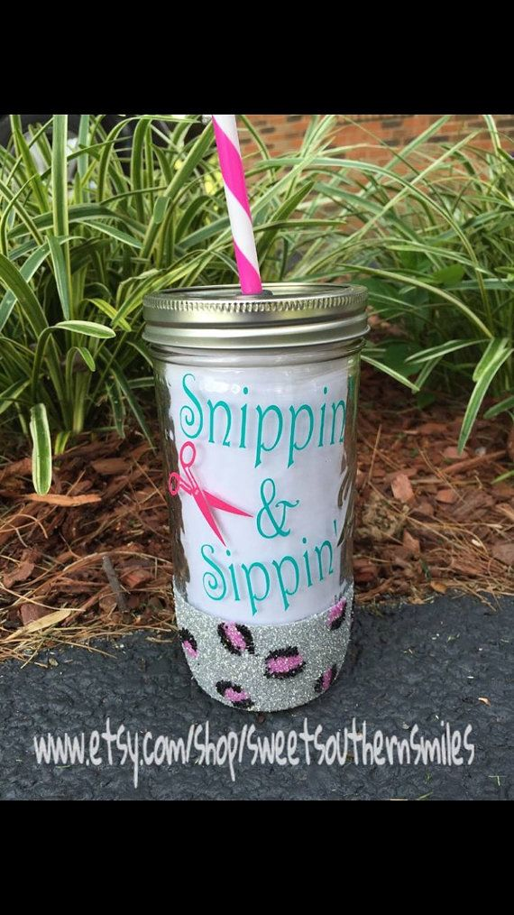 Mason jar cup and straw by sweetsouthernsmiles on Etsy