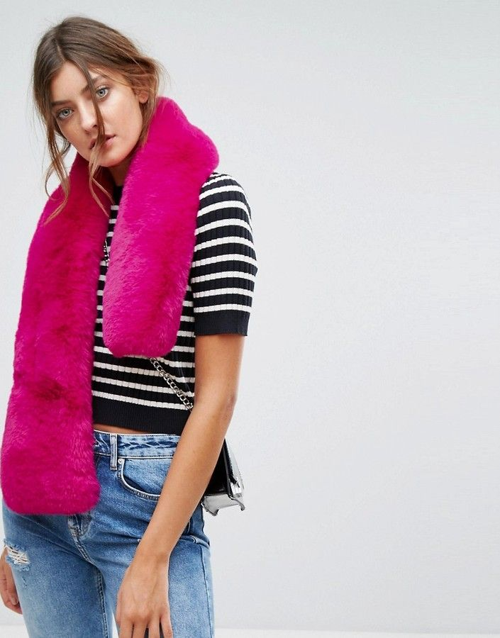 New Look Pink Faux Fur Stole