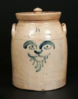 Rare 1 1/2 W. A. MACQUOID (New York City) Stoneware Crock with Lion Face Decoration