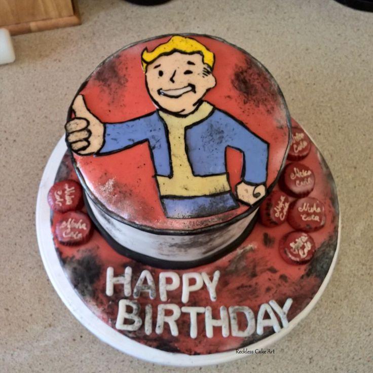 A Fallout Vault Boy Cake with Nuka Cola Caps #Fallout4 #NukaCola #VaultBoy