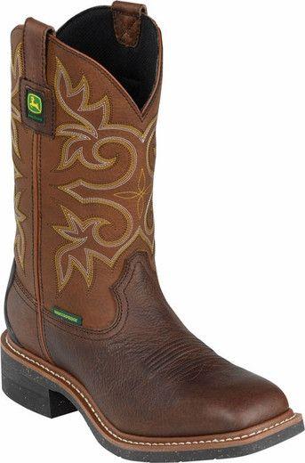 John Deere Mens Brown Leather Square Toe Waterproof Boots