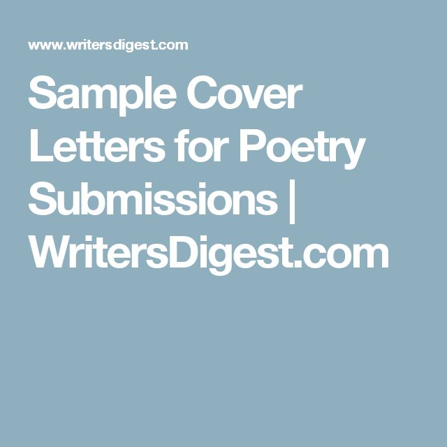 Sample Cover Letters for Poetry Submissions Poetry submissions