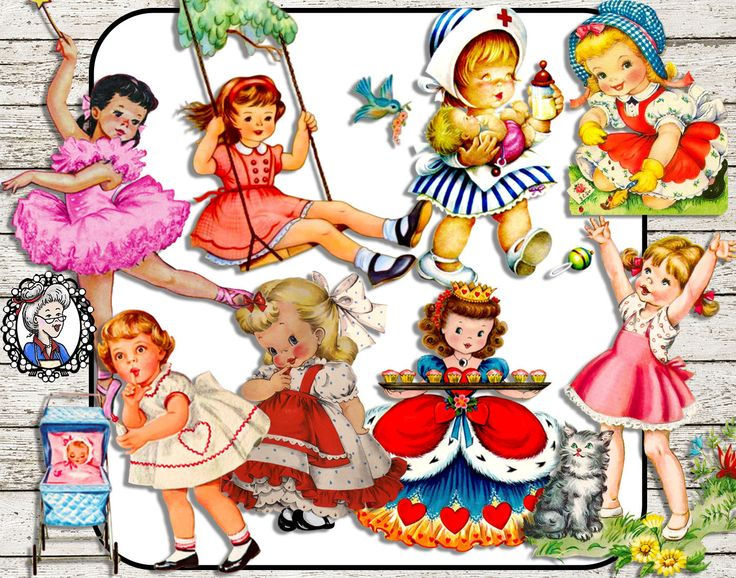 Digital Clipart: Little Girls, Vintage Ephemera Girls, Ballerina / Nurse / Pram / Queen of Hearts, Scrapbooking / Card making - 8 PNG CU by NanaVicsDigitals on Etsy