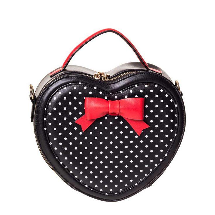 Great Heights hartvormige handtas met strik en polkadot print zwart - Vintage 50's Rockabilly