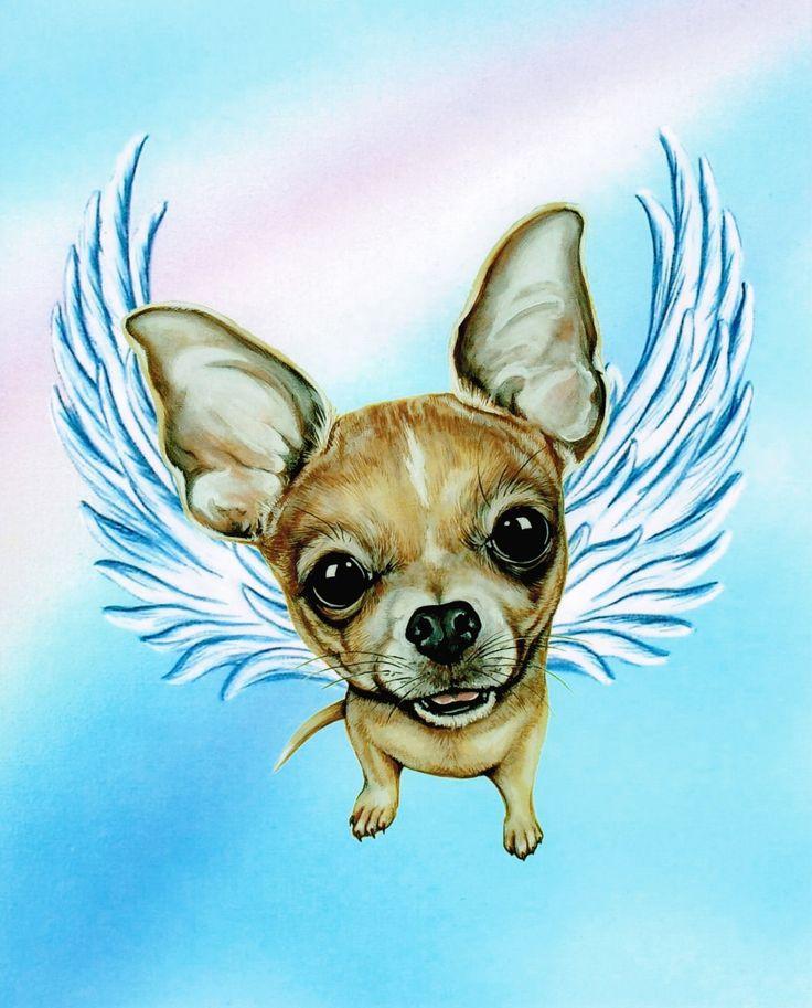 Chihuahua Angel - Chihuahua - Chihuahua Memorial - Chihuahua kunst - Chihuahua afdrukken - hond Angels - huisdier Memorial - Rainbow Bridge - Weeze Mace door ArtbyWeeze op Etsy https://www.etsy.com/nl/listing/224515654/chihuahua-angel-chihuahua-chihuahua