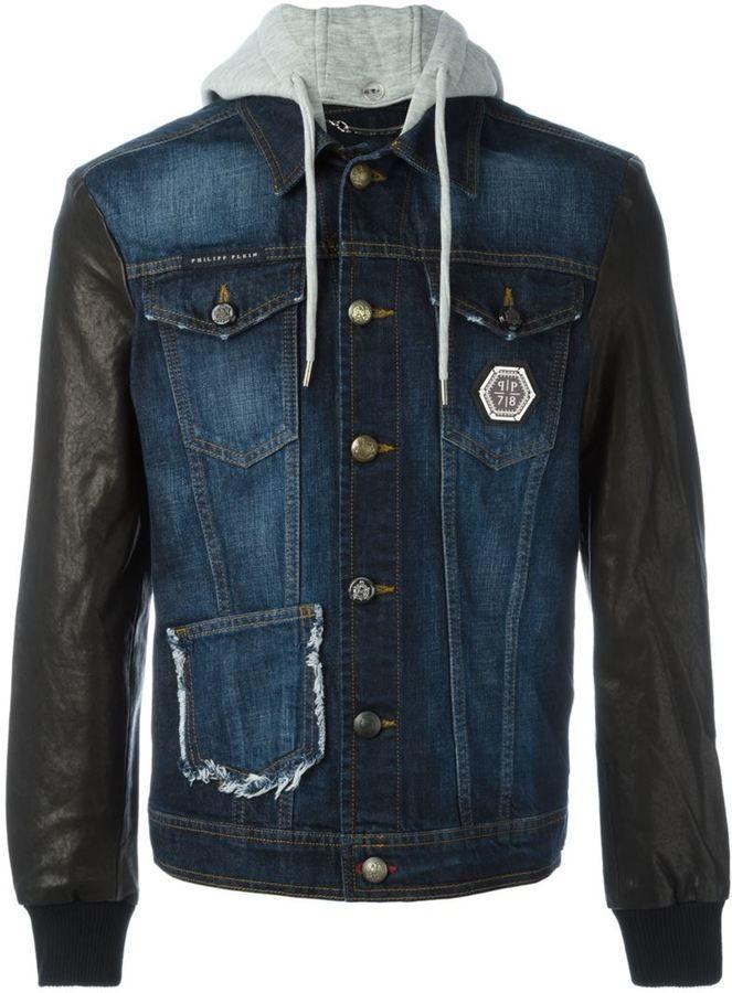 Philipp Plein leather sleeve denim jacket