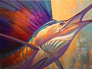 """ Rising Son "" Original Sailfish art 30"" x 40 "" acrylic on gallery wrap canvas by Mike Savlen"