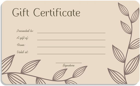 Leaf Branches Art Gift Certificate Template More