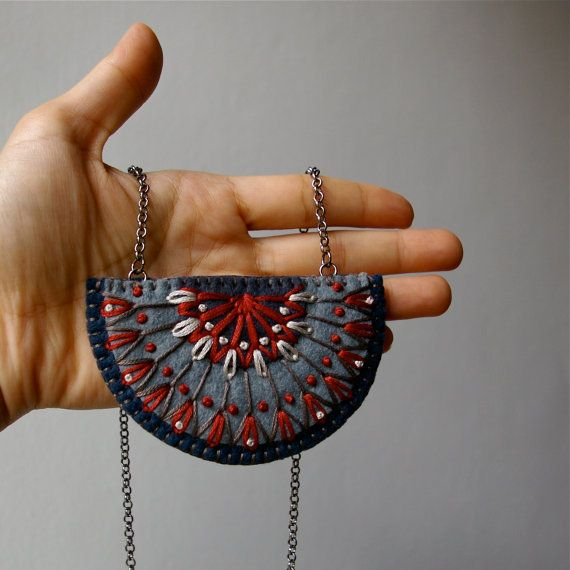 Tribal Geometric Statement Necklace ø Hand by LoftFullOfGoodies
