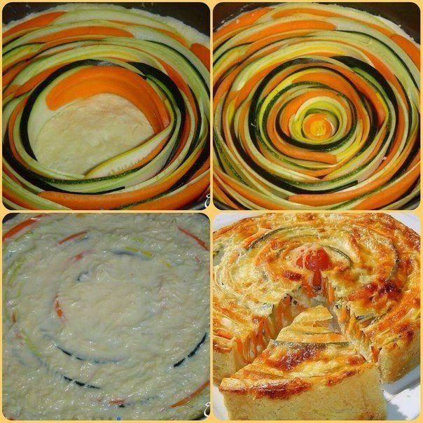 http://liice.info Овощной пирог. Ингредиенты: - Кабачок - 1 шт. - Цукини - 1 шт. - Морковь - 3 шт. - Масло оливковое- 1 ст л - Мука цельнозерновейшая пшеничная - 50 г - Вода холодная - 4 ст.л. - Соль...