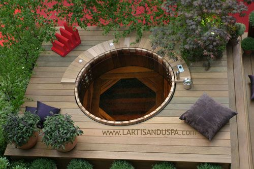 25 best ideas about spa en bois on pinterest spa bois - Jacuzzi exterieur semi enterre ...