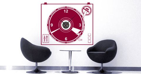 Hip and cool Turn Table Clock Tattoo.  Visit this link for more designs: https://limelight-vinyl.myshopify.com/