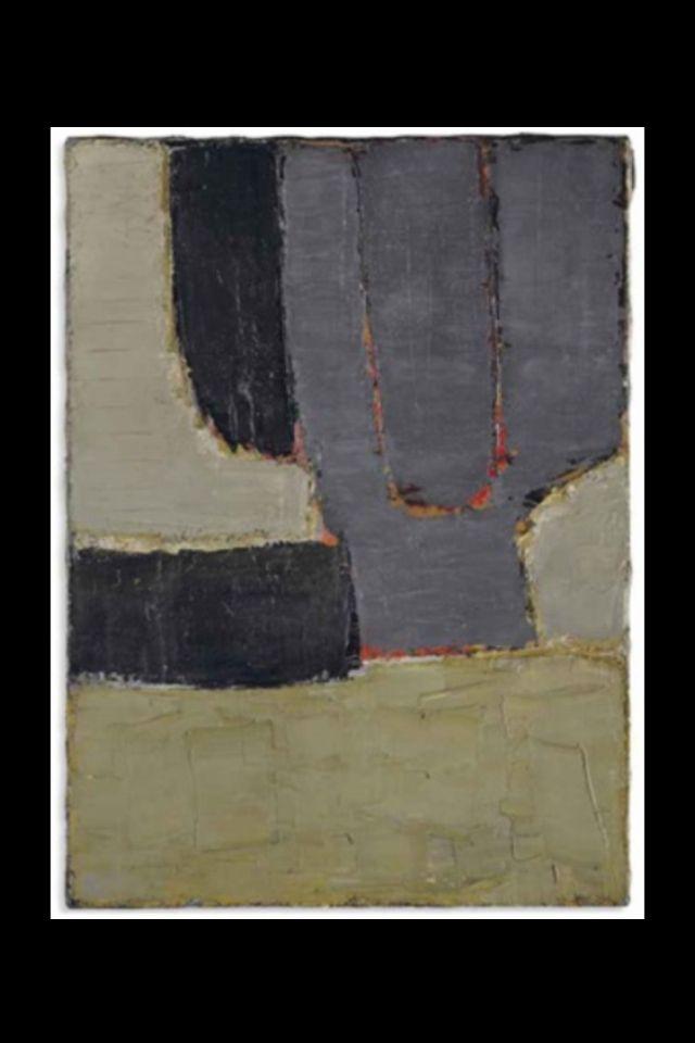 """Nicolas De Staël - """" Composition """", 1950 - Huile sur toile - 98 x 73 cm (*)"""