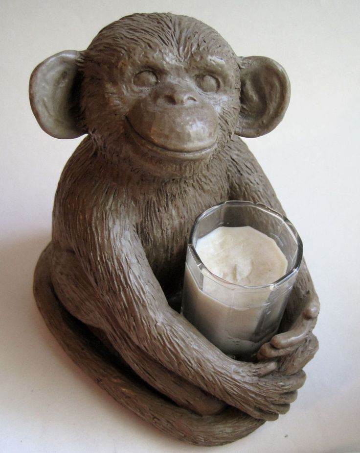 Sitting Monkey Smiling Big Ears Figurine Figural Candle Holder Heavy Pottery   | eBay