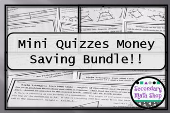 This is a set of 7 Sets of Mini Quizzes.  Mini-quizzes are half - sheet quizzes that are perfect as formative assessment or quick summative assessment. Each quiz focuses in on just one topic so that you can tell quickly if the students have the comment before you move on.Included are mini-quizzes on:Unit One: Beginning Concepts Unit Two:  Proof and Logic Unit Three:  Parallel Lines and Angles Unit Four:  Triangles and Congruency Unit Seven:  Right Triangles and Trigonometry Unit Eight:  The…