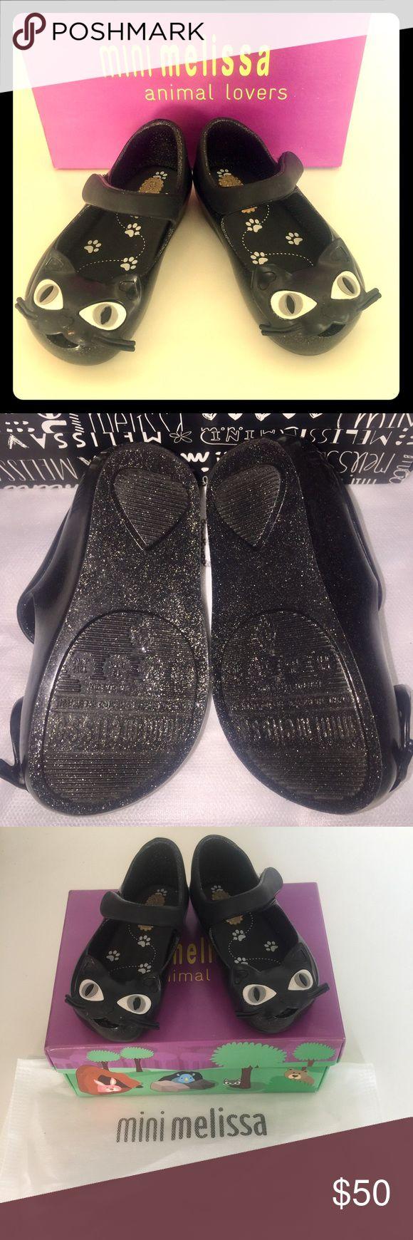 Mini Melissa Cat Shoes New with box! Black Glitter ✨ Purrrfection! Mini Melissa Shoes Dress Shoes