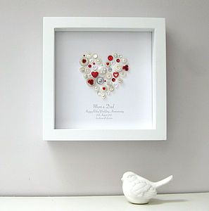 Personalised Ruby Anniversary Heart Artwork - 40th anniversary: ruby