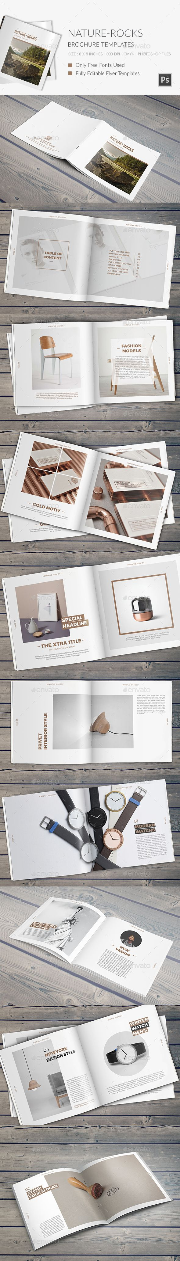 NatureRocks Square Portfolio Brochure Template — Photoshop PSD #minimal #gray • Available here → https://graphicriver.net/item/naturerocks-square-portfolio-brochure-template/13542410?ref=pxcr