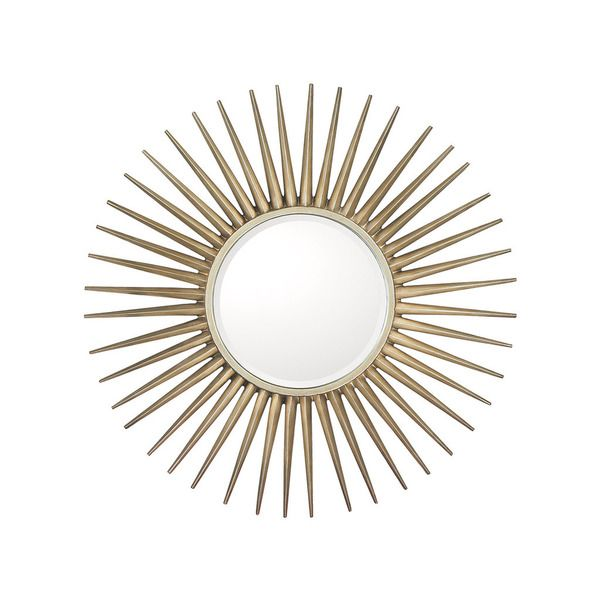 34 Inch Round Mirror Part - 36: Capital Lighting Starburst Design Brushed Silver 34 Inch Round Decorative  Wall Mirror