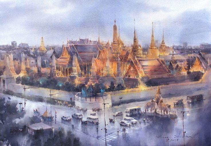 Direk Kingnok Watercolor artist Wat Phra Kaew, Bangkok 65 x 96 cm.