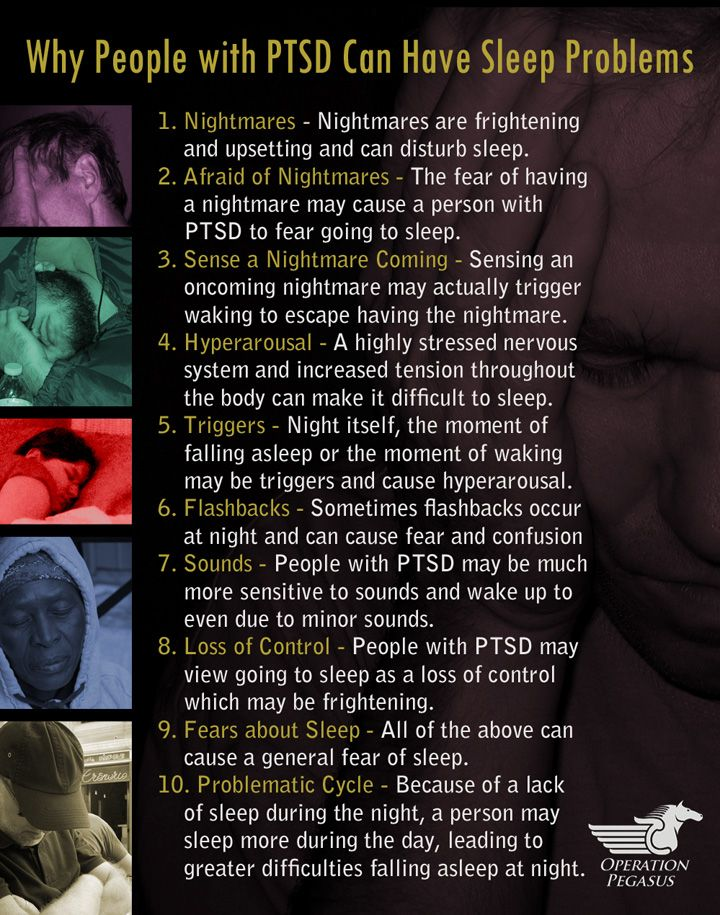 Sleep problems related to traumatic stress, causes of sleep problems, nightmares, fears about sleep