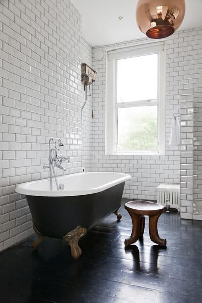 Love the black bath, the subway tiles and the copper light pendant