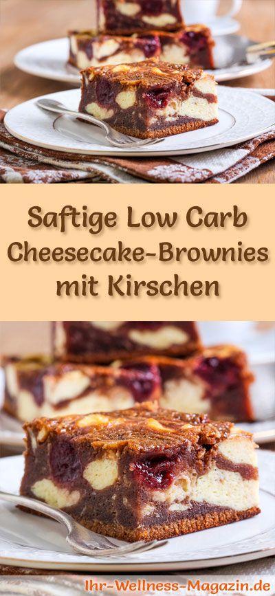 Rezept für saftige Low Carb Cheesecake-Brownies mit Kirschen: Der kohlenhydratarme, kalorienreduzierte   Kuchen wird ohne Zucker und Getreidemehl zubereitet ...