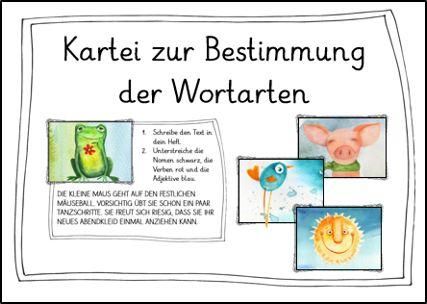 Deutsch in der Grundschule: Kartei zur Bestimmung der Wortarten