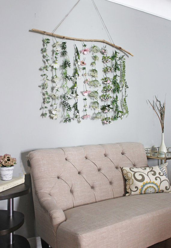 Flower Wall Hanging Boho Flower Wall Hanging Boho Wall Hanging Plant Wall Hanging Greenery Hanging Wall Hanging Boho Home Decor Hanging Flower Wall Decor Hanging Plant Wall