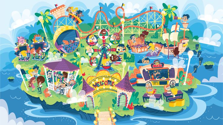 Amusement park created for Richmond's Orbit Project. The illustration was used for digital content (multirom) for a series of interactive activities for children. Each part of the park shows a different area to be explored, with educational games, karaoke…