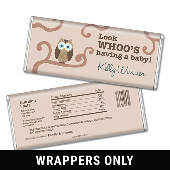 Look Whoo Personalized Candy Bar - Wrapper Only