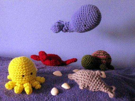Set of 3 Under the Sea Stuffed Animals by FaithfullyHooked on Etsy, $33.00