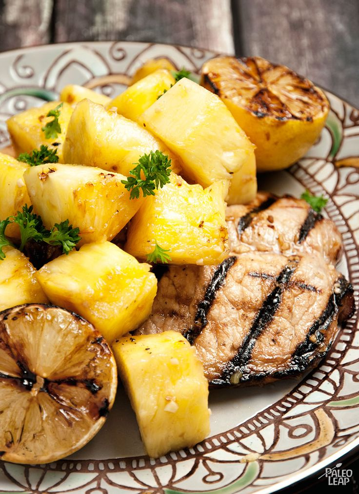 Pineapple Pork Chops - I marinated these all day, cooked them in my turbo-oven on 220c for 15 mins each side (thick loin chops) and put the pineapple on top in the last 5 mins.  I used canned pineapple in juice.