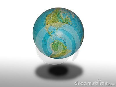 Globe illustration under shadow with gray gradient background. On the globe America is visible.
