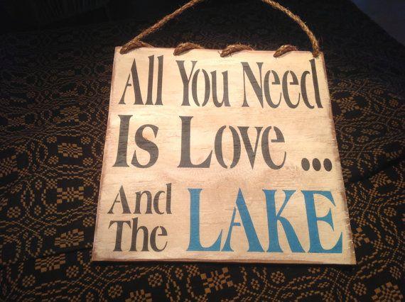 Lake sign lake house lake primitive lake sign welcome by KerriArt, $18.00