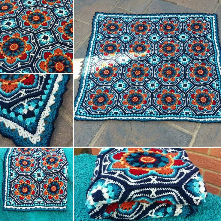"hiddenmeadowcrochet: "" hookin-to-the-beat: "" My Persian Tiles Blanket all done. Courtesy of the beautiful pattern from Janie Crow and a different border from Edie Eckman's Around the Corner Crochet Borders book… #persiantilesthrow..."
