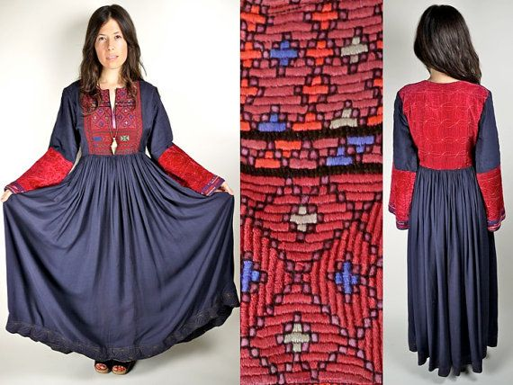 Vintage Balouch Embroidered Dress with Red Velvet via Etsy