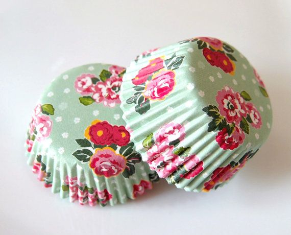 Mini Vintage Mint Green Floral Cupcake Liners (50)