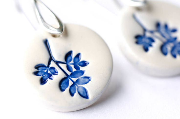 Sterling Silver Ceramic Leaves Earrings