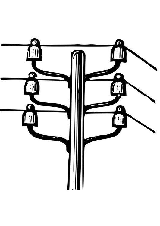 Dibujo Para Colorear Poste Electrico Poste De Electricidad Postes De Luz Clipart