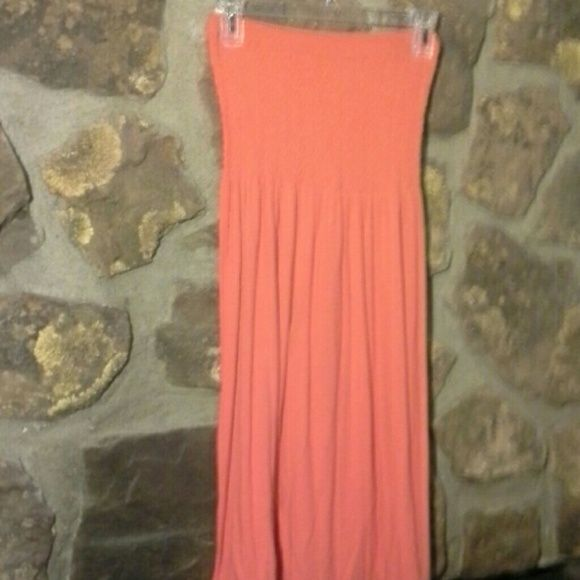 Strapless summer dress Deep orange color, strapless, patterned fabric on top. Worn once. Great for beach or casual summer wear. Dresses