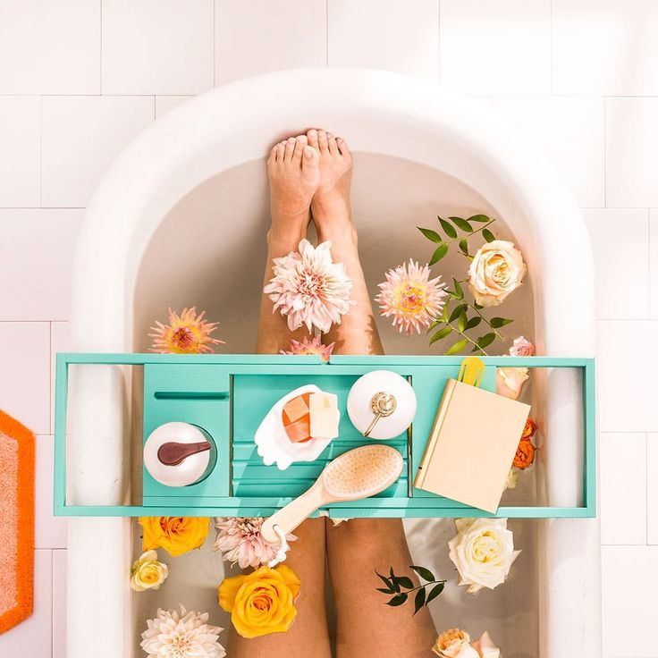 Sit back + relax this winter with this simple how-to guide for creating a flower bath, filled with rose petals, herbal healing bath gel, and lavender. #ad