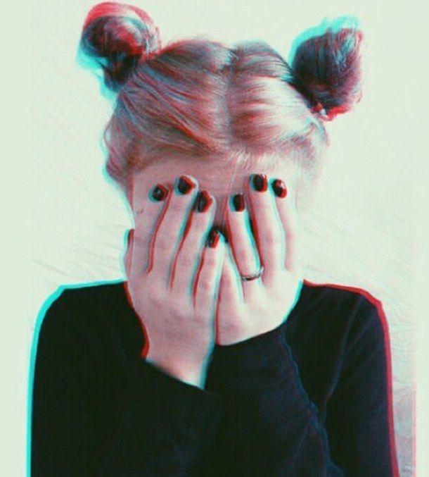 alternative, black, dark, girl, grunge, hair, nails, pink, pink hair, space buns