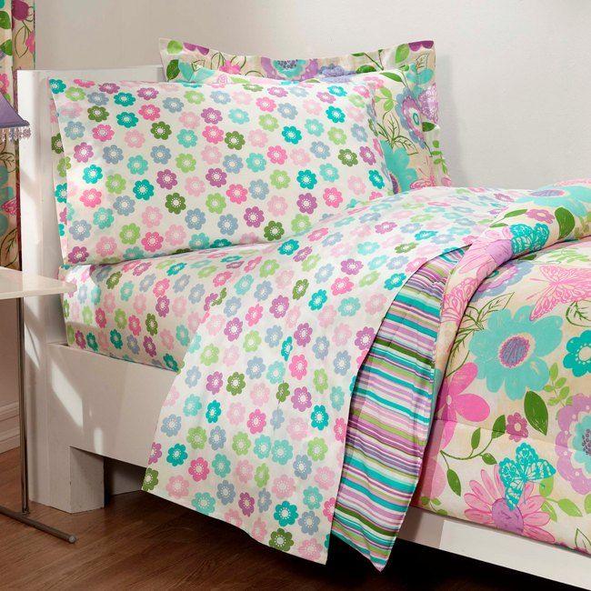 Girls Aqua And Pink Bedding